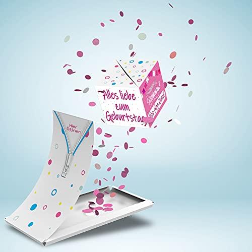 Boemby Explodierende Konfetti Geburtstagskarte - Happy Birthday Karte - Pop Up Überraschung Grußkarte Geschenk - WOW Effekt - BOOM Box - Premium Qualität (Alles Liebe Zum Geburstag - Rosa)