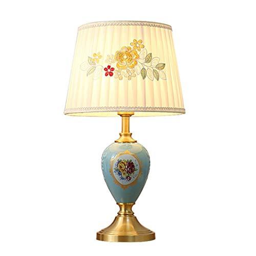 Lampe de bureau Céramique Nouveau style chinois Lampes de table Salon Décor Tissu Ombre Chambre Chevet Lumière