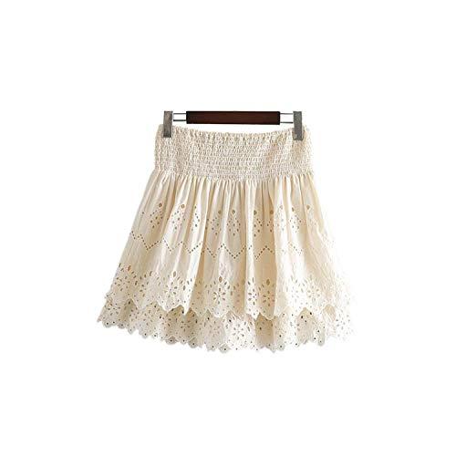 Mini falda de encaje para mujer, cintura elástica, línea A, elegante, informal, linda