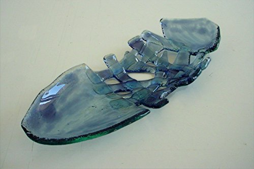 TRAMA - Bandeja centro de mesa de vidrio azul