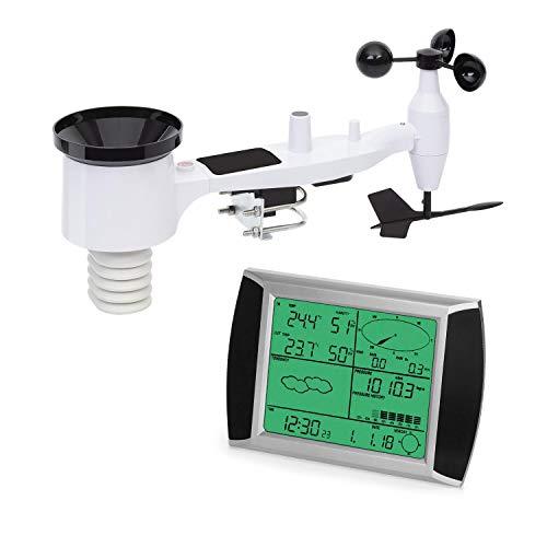 Waldbeck Kopernikus Wetterstation, Funkübertragung, LCD-Touch-Display, Innen- und Außentemperatur, Niederschlag, Luftfeuchte, Luftdruck, Windrichtung, Windgeschwindigkeit, inkl. Solarpanel, weiß