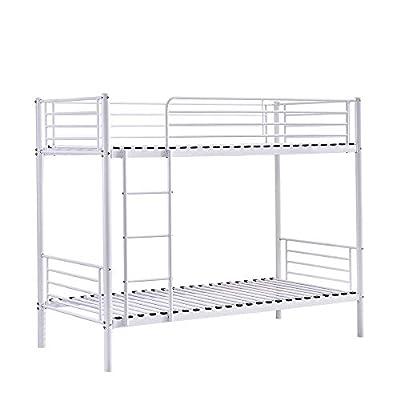 Huisen Furniture Metal Single Bunk Bed Cot Frame 3FT Bedroom Steel Bedstead Bunk Bed Frame Twin Size for Kids Teens Adult Dormitory