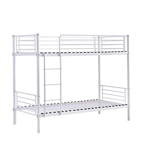 BOJU Single Bunk Bed Cot White Metal Frame 3FT Bedroom Steel Twin Size Bedstead Bunk Bed Frame for Kids Teens Adult Dormitory