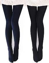 VERO MONTE 2 Pairs Womens Opaque Warm Fleece Lined Tights (BLACK + NAVY) 460425