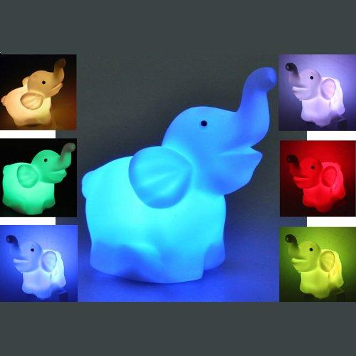 Plastic Elephant LED 7 Color Changing Night Light Lamp Room Decor