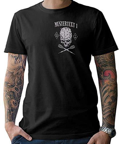 NG articlezz Hombre Dardos Calavera Camiseta – Personalizable con Texto Deseado S-XXXXXL con Frontal y Estampado en la Espalda - Negro/Negro, L