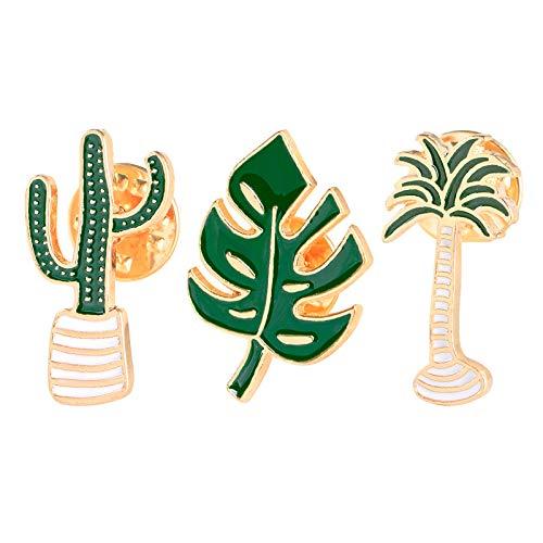 Pin broche bossen systeem bladerenplant bloemen cartoon metalen badge kleding accessoires sieraden gift 3pcs