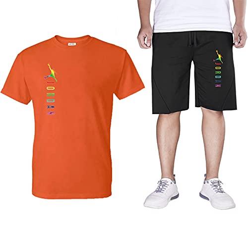 Jordan Hombre Chandal Corto Completo,2021 Verano Camisetas Manga Corta Algodón Corto Pantalon Deporte ,Ropa Deportiva Top+Pantalone 2 Piezas Set Orange-XL