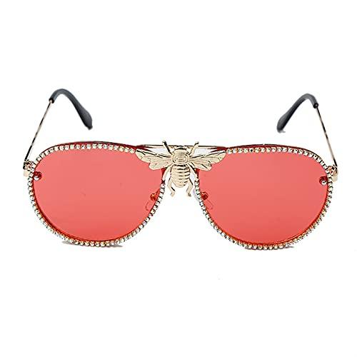 Fashion Metal Bee Gafas de Sol Mujeres Diamante Ribete Retro Gato Ojo Moda Gafas de Sol Hombres Gafas de Sol UV400 Los anteojos (Color : 6, Size : F)