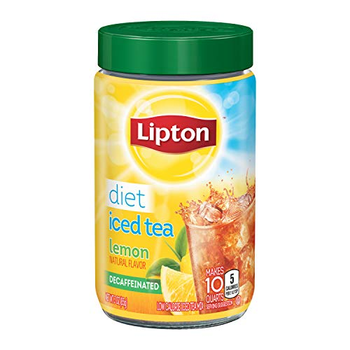 Lipton Diet Iced Tea Mix for any time of day Decaffeinated Lemon 100% Made From Real Tea Leaves Sugar Free 10 count pack of 4