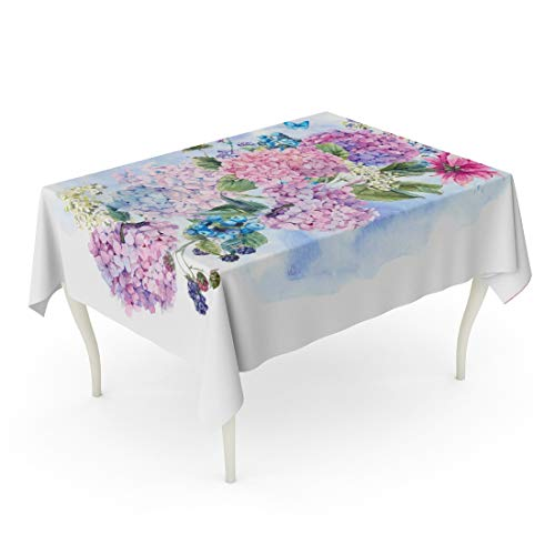 Tarolo Rectangle Tablecloth 60 x 84 Inch Blue Anniversary Summer Watercolor Vintage Floral Bouquet Blooming Hydrangea and Garden Flowers Botanical Natural White Green Table Cloth