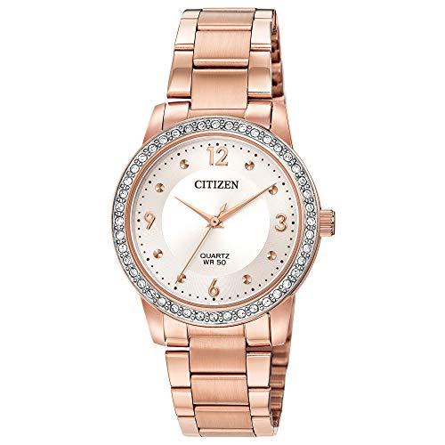 Citizen Reloj de cuarzo para mujer con correa de acero inoxidable, dos tonos, 18 (Modelo: EL3093-83A)