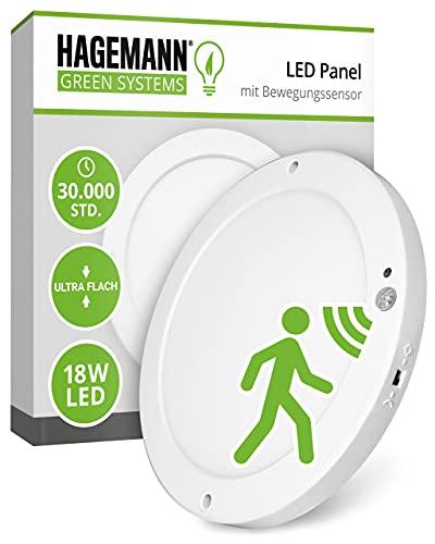 HAGEMANN® LED Deckenleuchte mit Bewegungsmelder innen 18 Watt rund 1500lm – Ø 22cm Durchmesser – flach 230V – Neutralweiß 4000K