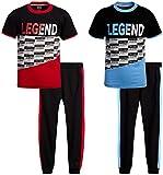 Quad Seven Boys' Activewear Set - Short Sleeve T-Shirt and Jogger Sweatpants (4 Piece), Size 8/10, Legend