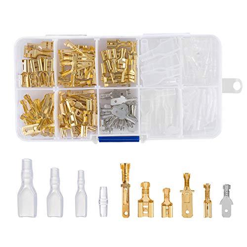 ZOEON 150 Stück Flachsteckern Kabel Stecker mit Isolierhülse Sortiment Kit Flachsteckhülsen Flachstecker Spade Kabelschuhe Sleeve Terminal Weiblich