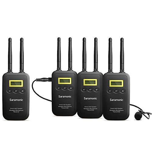 Ultimate Wireless Lavalier Microphone System, Saramonic VmicLink5 5.8GHz 3-Channel Lapel Mic 3 Transmitters & 1 Receiver for Canon EOS Nikon Sony DSLR Camera Panasonic Camcorder News Gathering Video