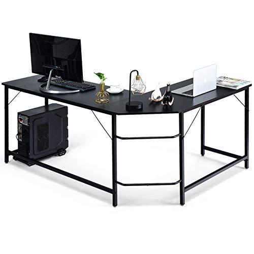 AIYIFU Mesa de Despacho,Escritorio en Forma de L,Mesa de Ordenador Pequeña, Ahorro de Espacio, para Oficina, Estudio, Roble y Blanco,