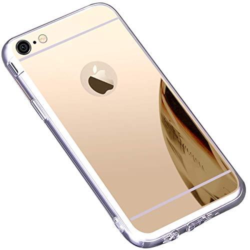 Jinghuash Funda Compatible con iPhone 6S Plus,Protectora Ultra Delgado Choque Absorción Anti-Arañazos Case Suave TPU Silicona Gel Bumper Transparente Cover con Efecto Espejo,Plating Espejo Serie