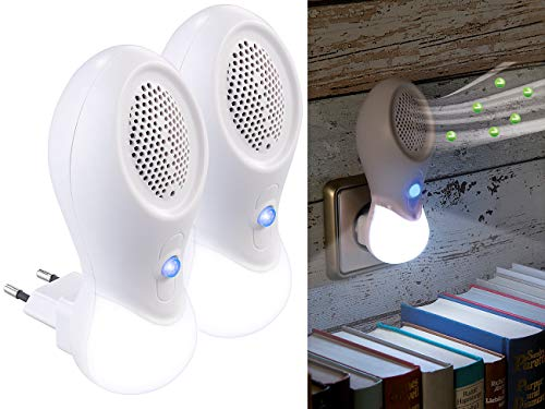 newgen medicals Elektrische Luftreiniger: 2er-Set 2in1-Steckdosen-Ionisator-Luftreiniger & LED-Nachtlicht, 3 W (Stecker-Luftreiniger)