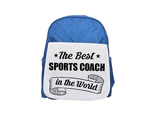 The Best Sports Coach in the World - Mochila infantil con estampado azul, mochilas lindas, mochilas pequeñas, mochila negra, mochila negra, mochilas de moda, grandes mochilas de moda, color negro