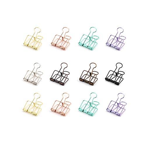 DXIA 12 Piezas Clips de papel de Metal, Creativo Hueco Pinzas, Cola Larga Hueca Clip, Clips Metálicos, Portátiles Clips de Documentos de Papel, Creativos Clip de Carpetas para Oficina, Escuela, Hogar