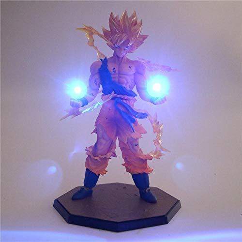 Yvonnezhang Anime Dragon Ball Z Son Goku Luz LED Super Saiyan PVC Figura de acción de...