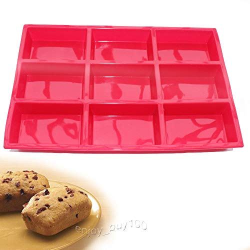 X-Haibei Loaf Bread Chocolate Brownies Sponge Cake Rectangular Bar Silicone Mold Baking Pan 3.8X2.8X1.1inch/cavity