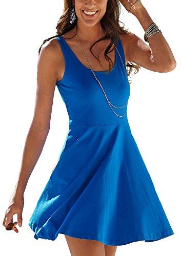 Uniquestyle Damen Ärmelloses Beiläufiges Strandkleid Sommerkleid Tank Kleid Ausgestelltes Trägerkleid Knielang Royalblau L
