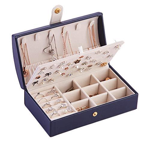 Longess Joyero de piel sintética con varios compartimentos con espejo para anillos, pendientes, collares, pulseras, regalos de cumpleaños para niñas y mujeres
