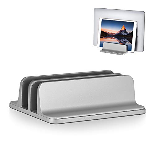 2 Slot Vertical Laptop Stand Adjustable Tablet Laptop Holder Aluminum Alloy Cooler Space-Saving Fits for Most Laptop