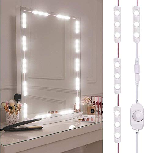 Relaxbx Spiegel LED Licht, Dimmbar 60 LEDs Kosmetikspiegelleuchten Kits, 10ft wasserdichte DIY LED Lichtleiste Tageslicht Weiß 6000K mit Dimmer für Waschtisch Badezimmer Ankleidezimmer