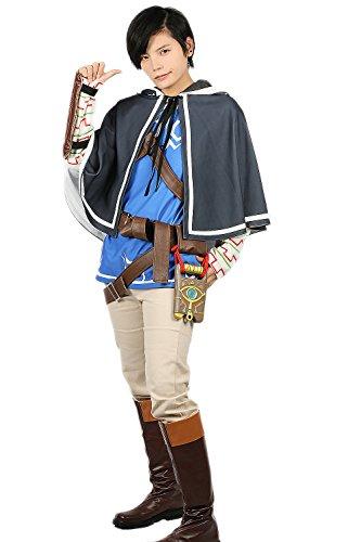 Mesky Disfraz de Link para Hombres Cosplay de Zelda en Invierno Traje Completo Capa Pantalones Correas de PU Unisex Algodón Halloween