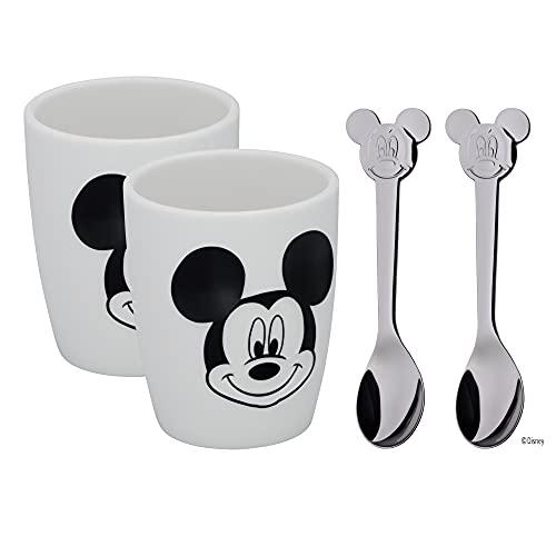 WMF Disney Mickey Mouse Tassen Set S, 2 kleine Tassen mit Löffel, Espressotasse, Porzellan, Cromargan Edelstahl poliert, spülmaschinengeeignet