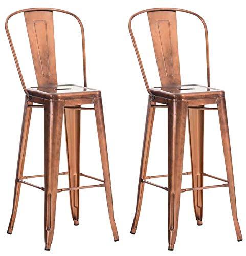 Lot de 2 Tabourets de Bar Design Aiden en Métal Robuste I Dossier et Repose-pied I Chaise Haute de Cuisine I Cou, Couleur:cuivre