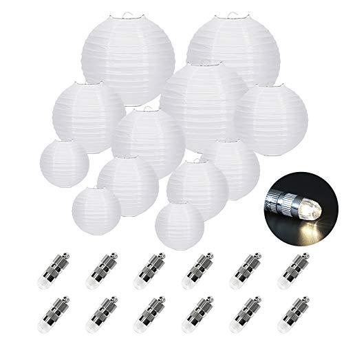 FullBerg 12Blanca–Farolillo farolillos (, Distintos tamaños) + 12Mini LED de luz Blanca cálida de Globos Luces, Redondo lámpara Pantalla Tweeters Tiempo Decoración–Farolillo