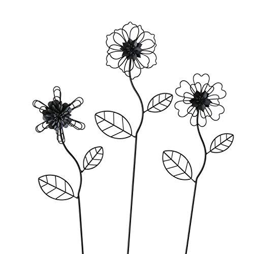 Boltze 3 x Gartenstab Royana Eisen Höhe 75 cm schwarz, Gartendeko, Geschenk