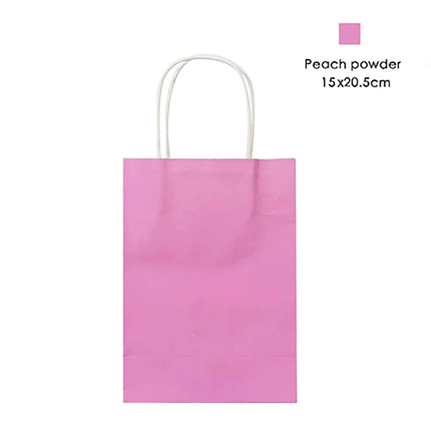 12 Pieces Party Favor Bags Gift Bags Kraft Paper Bags with Handles for Birthday, Tea Party, Wedding, Baby Shower and Party Celebrations - Small, Pink