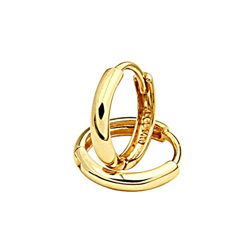 14k REAL Yellow Gold 1.5mm Thickness Huggie Earrings (8 x 8 mm)
