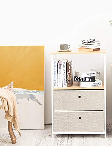 Suhu Kommode Schrank mit 2 Schubladen aus Stoff und Offenem Fach Beistelltisch mit Bücherregal Couchtisch Metall Nachttisch Nachtkonsole für Küche Wohnzimmer Schlafzimmer Büro Stahl+Holz Weiß+Beige