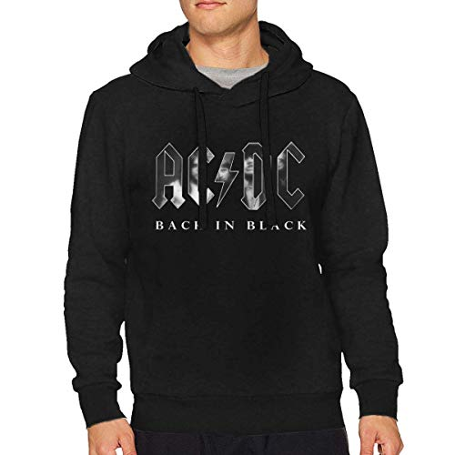 Ytdbh Sudadera con Capucha Hombre, ACDC Back in Black Mans Stylish Long Sleeve Sweater