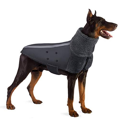 SlowTon Winter Dog Coat, Warm Polar Fleece Lining Doggie Outdoor Jacket with Turtleneck Scarf Reflective Stripe Adjustable Waterproof Windproof Puppy Vest Soft Pet Outfits (Large, Grey)