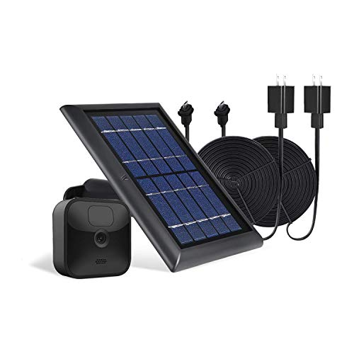 Wasserstein 1-Pack Solar Panel with Internal Battery Bundled with 2-Pack Weatherproof Power Cable Compatible with Blink Outdoor & Blink XT2/XT Camera (Black)