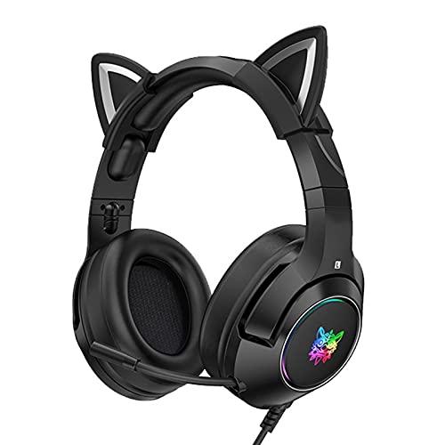 DERCLIVE Cuffie da gioco cablate con orecchie di gatto rimovibili per PS4 Switch Computer Noise Cancelling Over Ear Cuffie con microfono LED Light