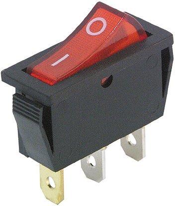 Interruttore a bilanciere nero, illuminato a 3 poli, 250 V ~/15 A, 125 V =/20 A, 2 posizioni: on/off