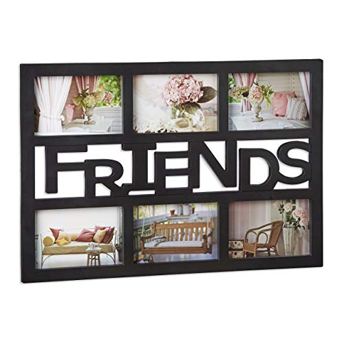 Relaxdays Marco de Fotos Mútliple 6 Friends Plástico, Negro, 33 x 48 x 1.5 cm