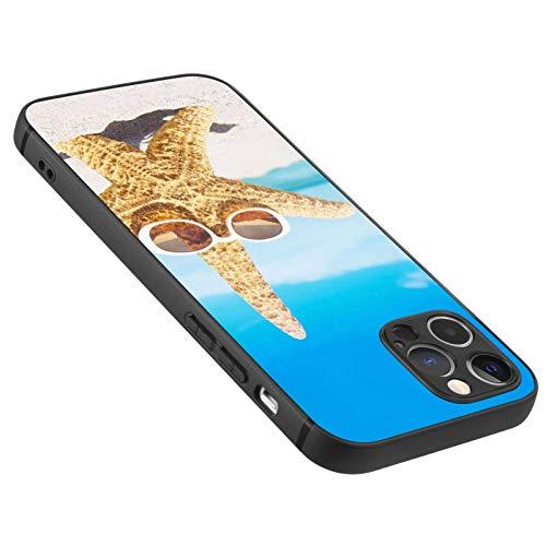 FAUNOW Diseñado para iPhone 12 Pro Max mate caso ultra delgado a prueba de golpes negro cubierta con estrellas de mar