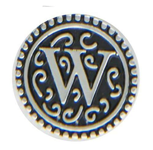 Ganz Jewel La La Snap Button for Jewelry, Initial W (ER33810)