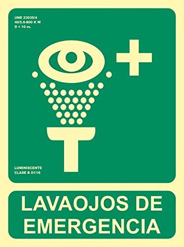 MovilCom® - Señal luminiscente LAVAOJOS DE EMERGENCIA PVC 0,7mm Clase B 224X300mm...