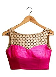 ae62f0d973 Maruti Latest Pink Colour Beautiful Designer Blouse-Only Material(Unstitched  Blouse)