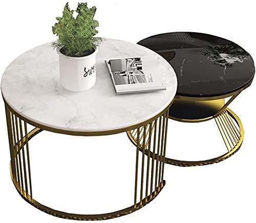 LZXH Tavolini da Salotto, Tavolino Rotondo in Marmo, Bianco e Nero, Semplice e Versatile Allungabile, Set di 2, Tavolino da 65+50cm Decor